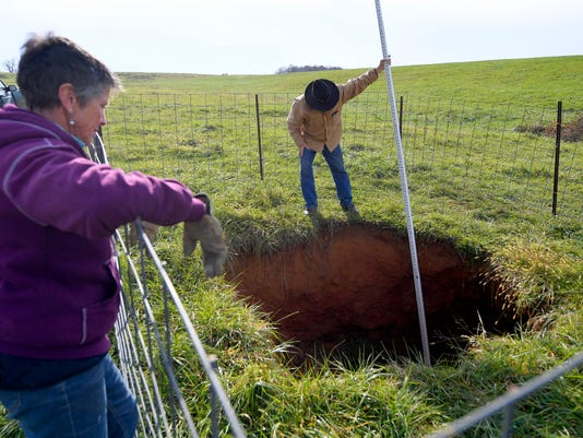Sink Hole Opens On Swoope Farm