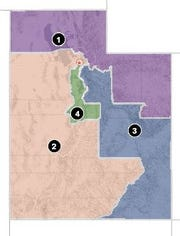 A map of Utah's congressional districts show how all four districts start near Salt Lake County and then bleed outward into the rest of the state.