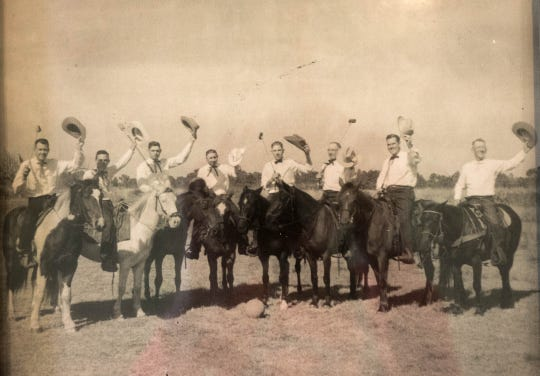 Irving Knight, third from left, played palmetto polo with the Vero Beach Riding Club. The mallets were made with palm fronds.
