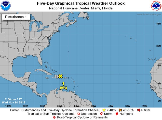 A tropical wave over portions of the Virgin Islands, Puerto Rico, Hispaniola and adjacent waters was given next to no chance to develop as of 7 p.m. Wednesday, Nov. 14, 2018.