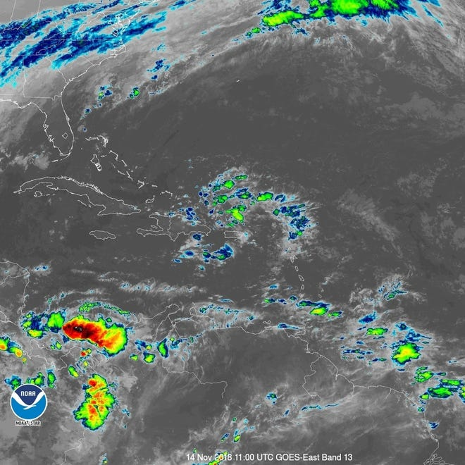 Tropical wave as of 6 a.m. on Wednesday, Nov. 14.