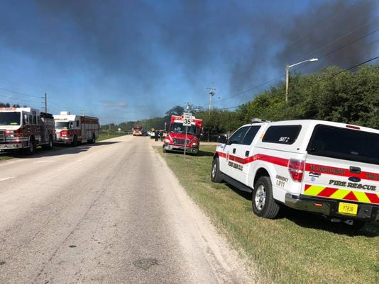 A fire started Wednesday afternoon at the 3600 block of Selvitz Road in St. Lucie County