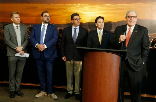 County Judge Ruben Vogt, City Rep District 1 Peter Svarzbein, Emmanuel Ibarra, Juarez Campus Manager for Eaton Corp., Jon Barela, chief executive officer of the Borderplex Alliance and Mayor Dee Margo announced that Eaton Corp. a worldwide manufacturing company with three factories in Juárez, announced plans to expand into El Paso with a factory expected to open in the first half of next year with 200 employees. Various other city and county officials were present for the formal announcement made Wednesday morning.