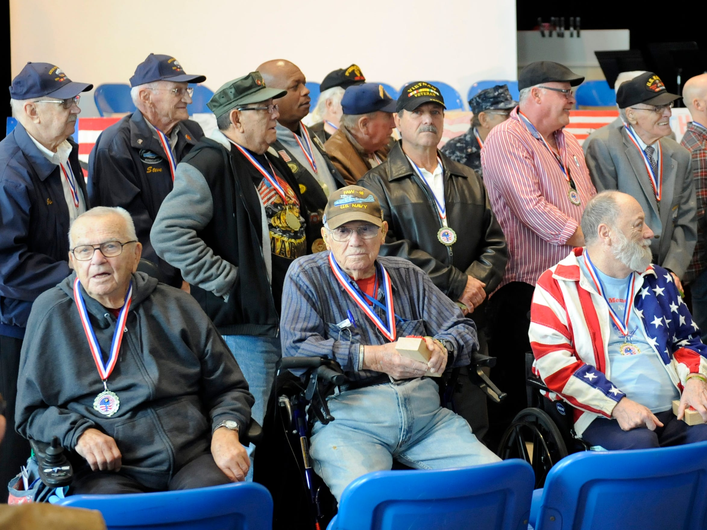 Over 30 veterans attended a special assembly honoring heroes at Veterans Memorial School on Wednesday, November 14, 2018.