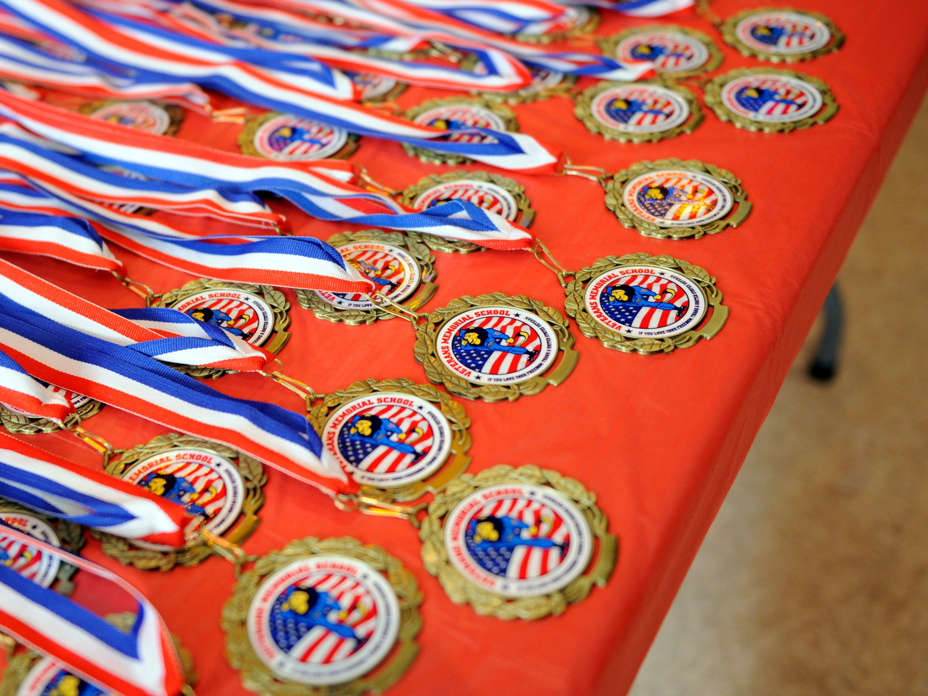 Veterans Memorial School medals were on display during a special assembly honoring heroes. Students awarded the medals to each veteran that attended the event on Wednesday, November 14, 2018.