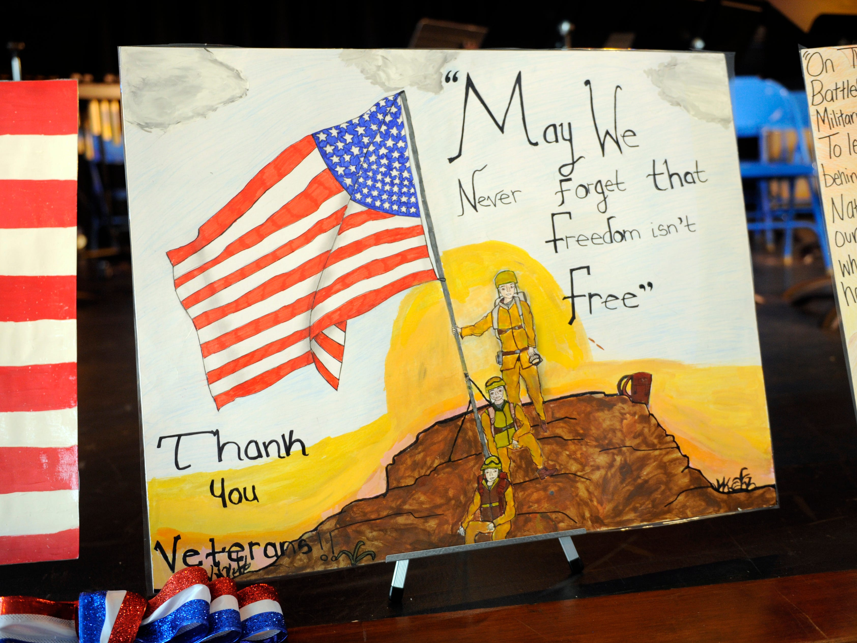 Veteran themed posters, made by Veterans Memorial School students, were on display during a special assembly honoring heroes on Wednesday, November 14, 2018.