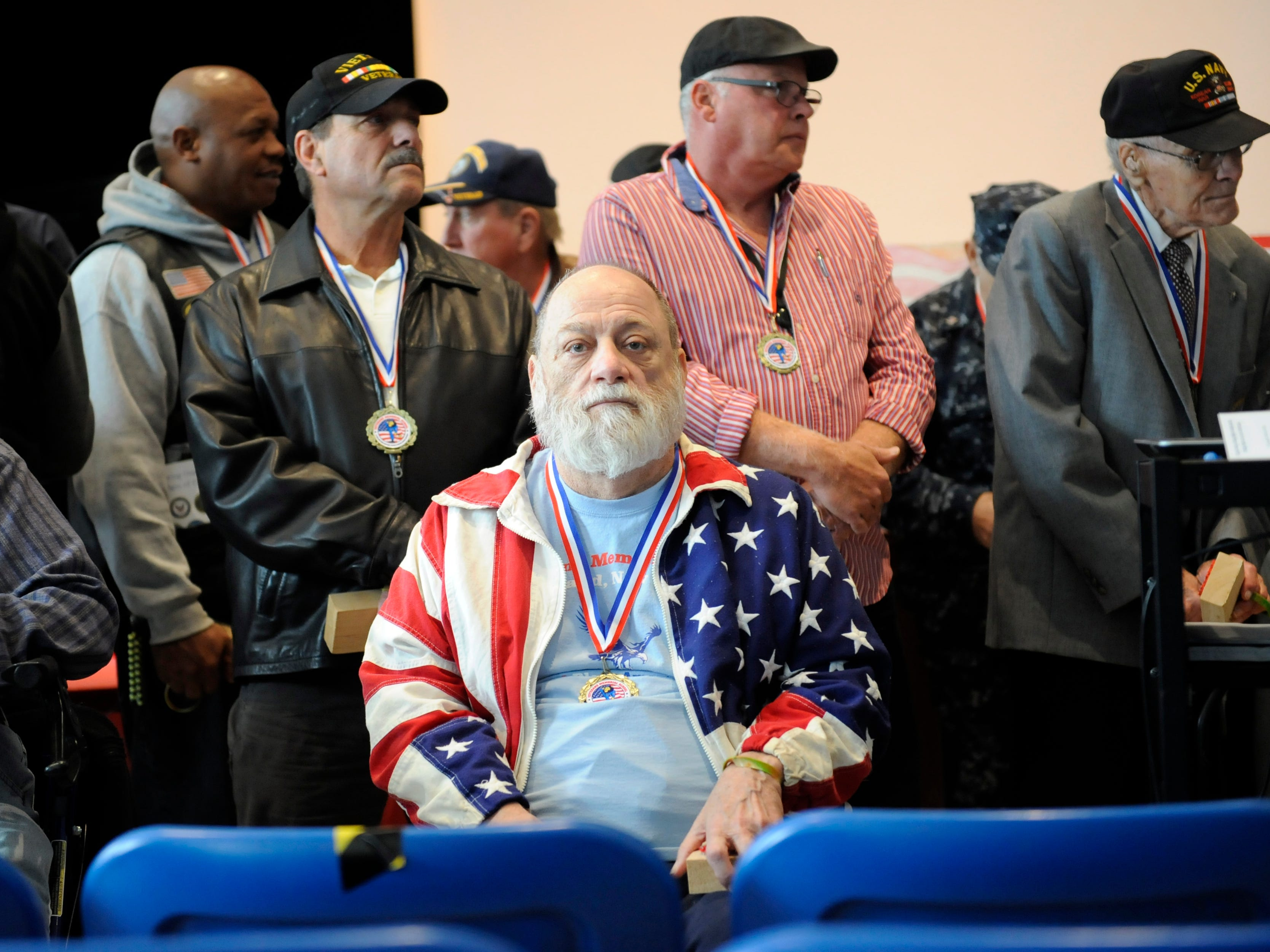 Vietnam Veteran Gregory R. Miller, 69 of Vineland, attends a special assembly honoring heroes at Veterans Memorial School on Wednesday, November 14, 2018.