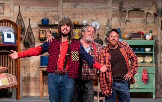Hank Boone, left, Chad Homan and Aaron Johnson rehearse for Escanaba in Da Moonlight at the Ice House Theater on Tuesday, November 13, 2018.
