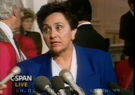 Congresswoman Nita Lowey talking to reporters during the Anita Hill hearing