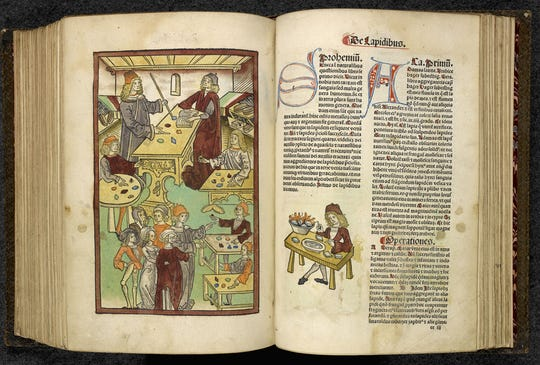 """Jacob Meydenbach [H]ortus Sanitatis Mainz, 1491 is part of It's part of """"Harry Potter: A History of Magic,"""" at the New York Historical Society."""