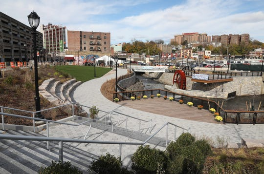 The new park in Yonkers, phase 3 of the Saw Mill River Daylighting, is seen at Nepperhan Avenue and New Main Street, Nov. 14, 2018.
