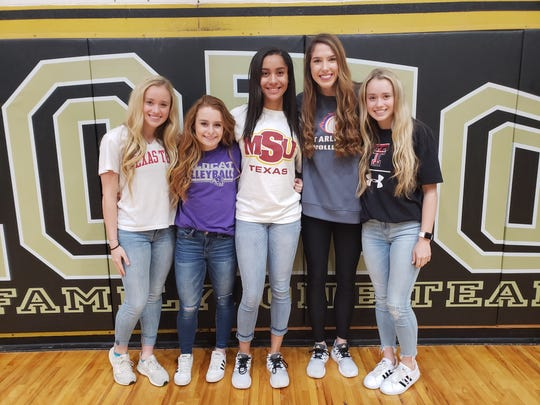 Five members of the Rider Lady Raiders volleyball team will play in the Oil Bowl's first all-star volleyball match Saturday, including (from right) Lindsey Dodson, Logan Browning, Alyssa Estrada-Hamby, Meredith Fisher and Lauren Dodson. The Dodsons will be on opposite teams for the first time ever.