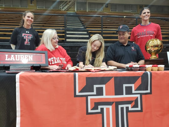 Rider senior Lauren Dodson signs a college letter of intent to play volleyball at Texas Tech.