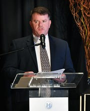 Henry Florsheim, president and CEO of the Wichita Falls Chamber of Commerce and Industry, speaks Wednesday during the 2018 Economic Forum at the Wichita Falls Country Club.