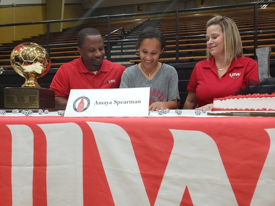 Rider senior Amaya Spearman signs a college letter of intent to play soccer at Incarnate Word.