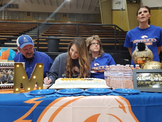 Rider senior Meredith Fisher signs a college letter of intent to play volleyball at UT-Arlington.