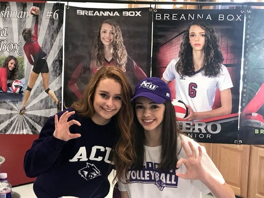 Brea Box of Holliday and Logan Browning of Rider signed with Abilene Christian University Wednesday.