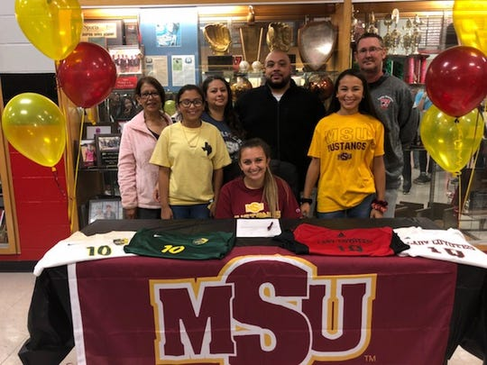 Wichita Falls High School senior midfielder Alyssa Salinas signed to play soccer at Midwestern State. Salinas led the Lady Coyotes in assists last season and was a first-team District 5-5A selection.