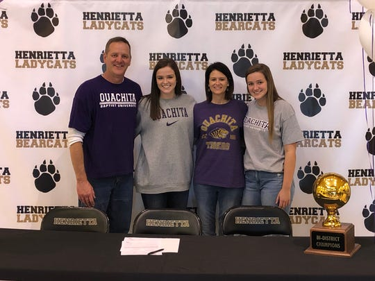 Henrietta's Audrey Gallagher signed to play volleyball at Ouachita Baptist University, a Division II school in Arkansas. Gallagher was Co-Most Valuable Hitter in 8-3A this season with Holliday's Brea Box.