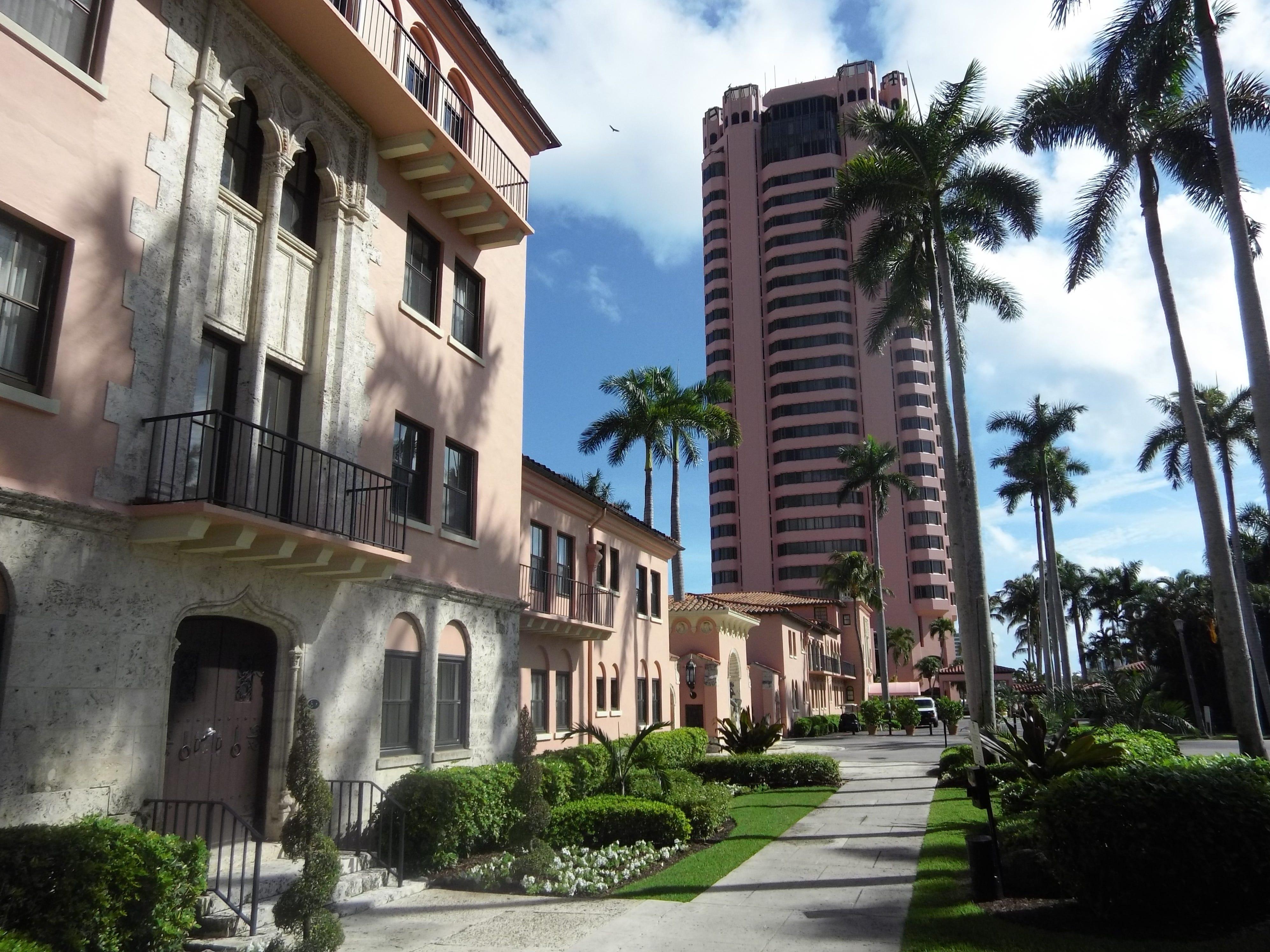 The Tower sits beyond the original  Cloister Inn at Boca Raton Resort & Club.