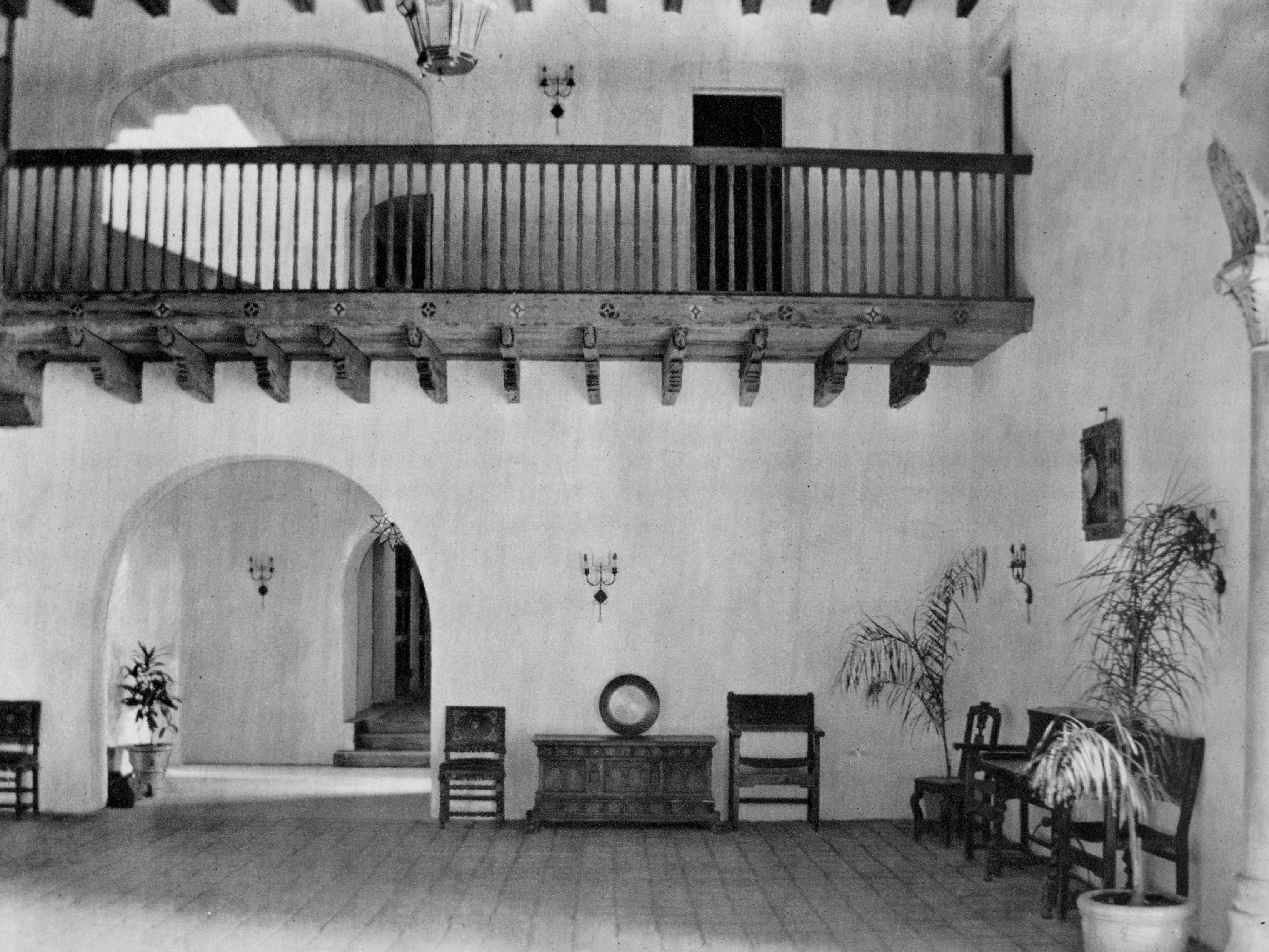 The original lobby of the Cloister Inn, which still stands today.