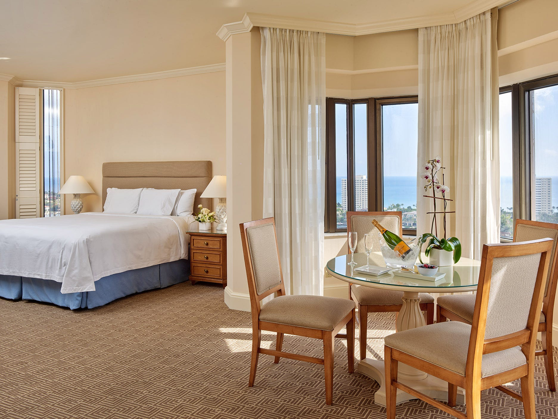 A guest room in The Tower, part of Boca Raton Resort & Club.