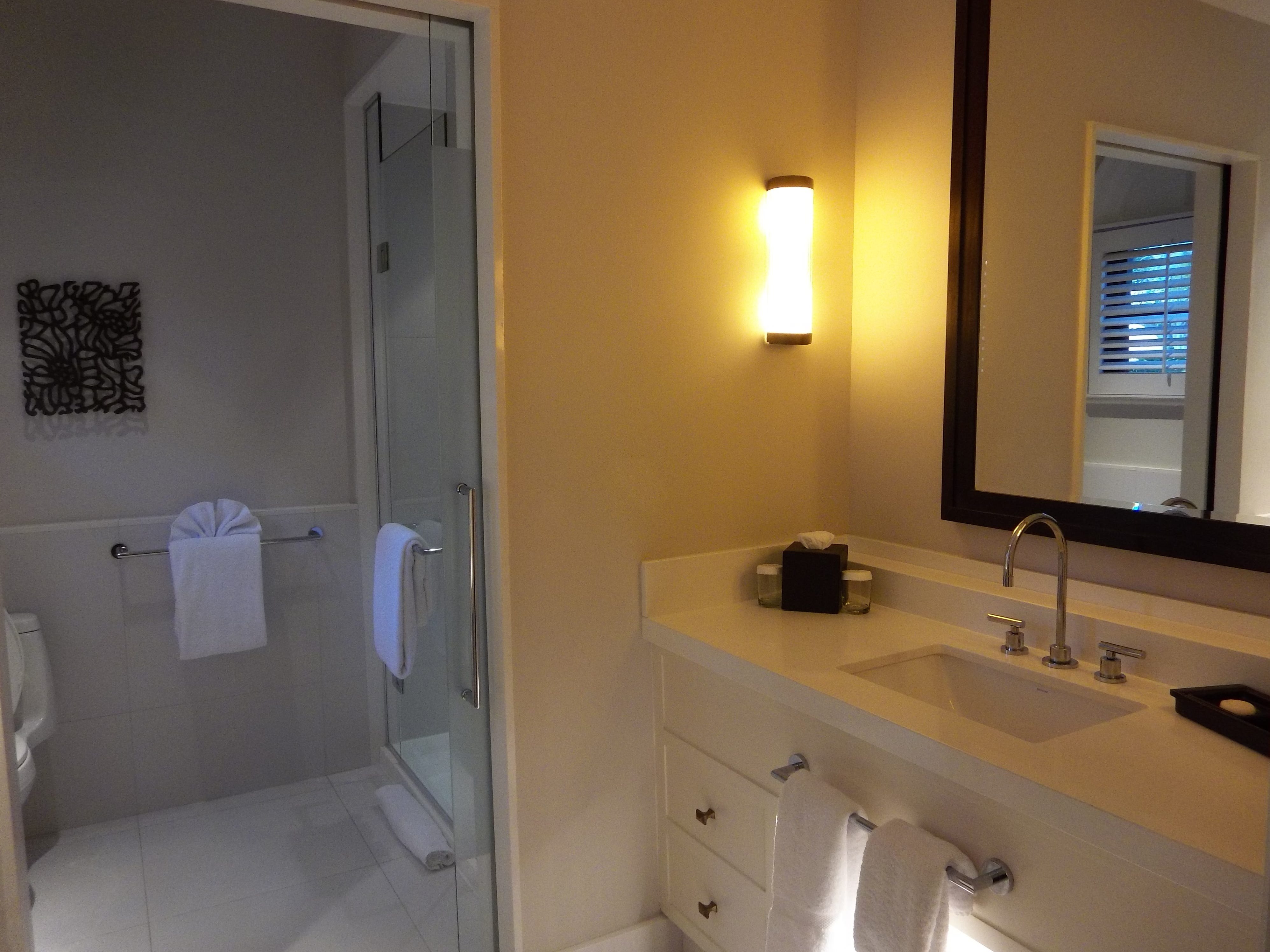 The spacious bathroom in the one-bedroom suite in The Cloisters.