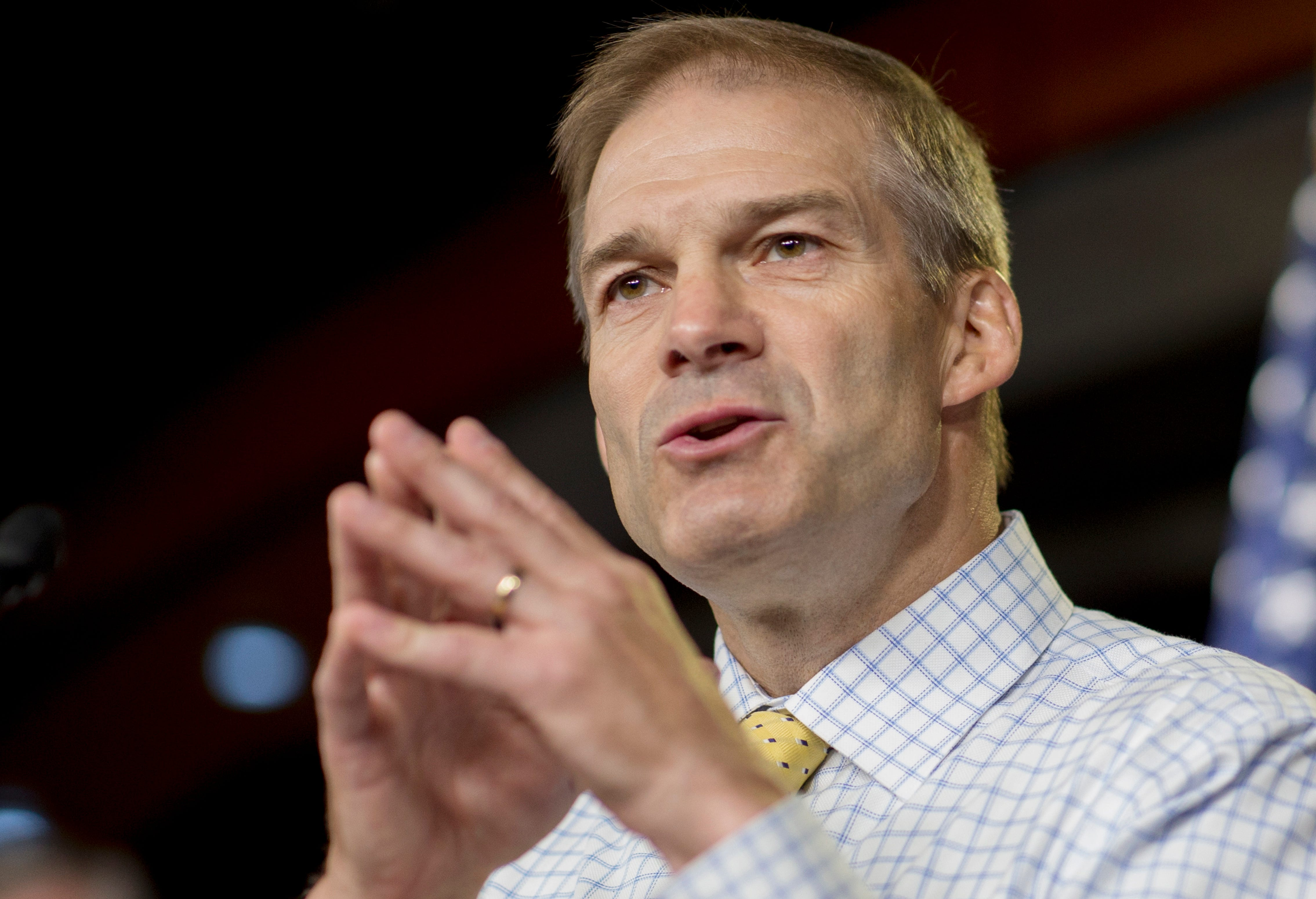 Rep. Jim Jordan, R-Ohio, speaks during a news conference on Capitol Hill on Sept. 6, 2018.