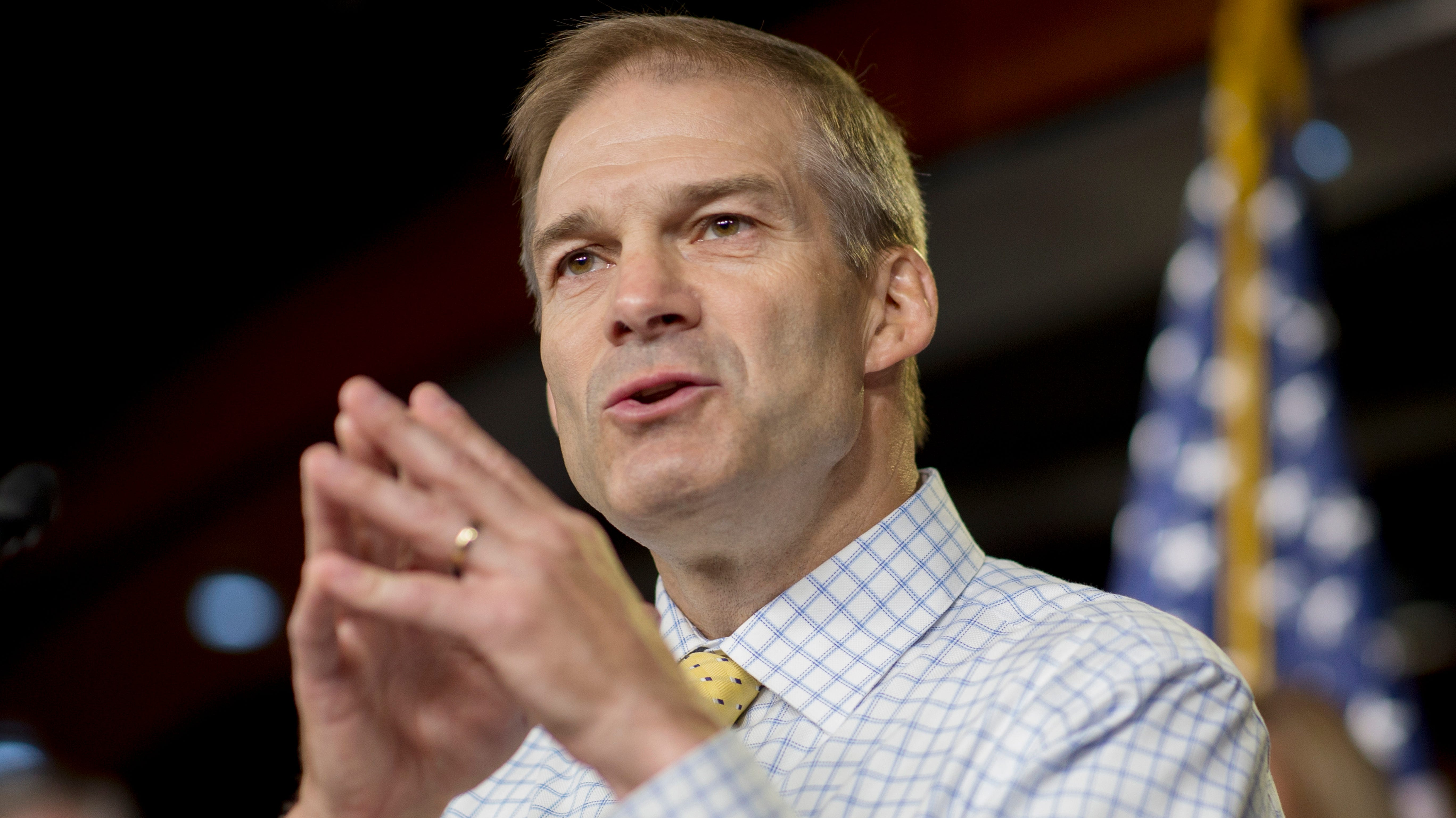 Rep. Jim Jordan, R-Ohio, speaks during a news conference on Capitol Hill in Washington, on Sept. 6, 2018.