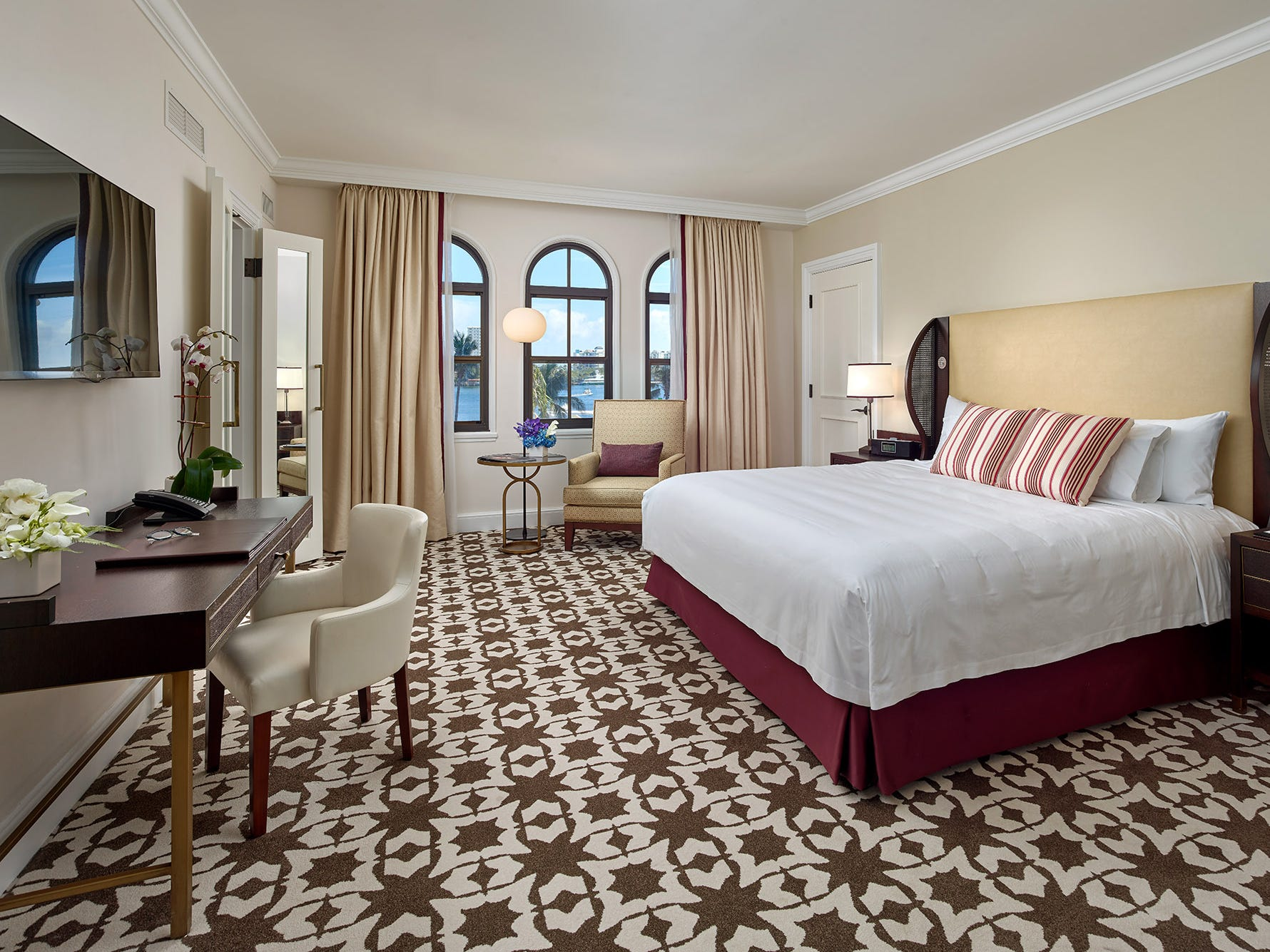 A spacious guest room in The Cloister, the original part of Boca Raton Resort & Club.