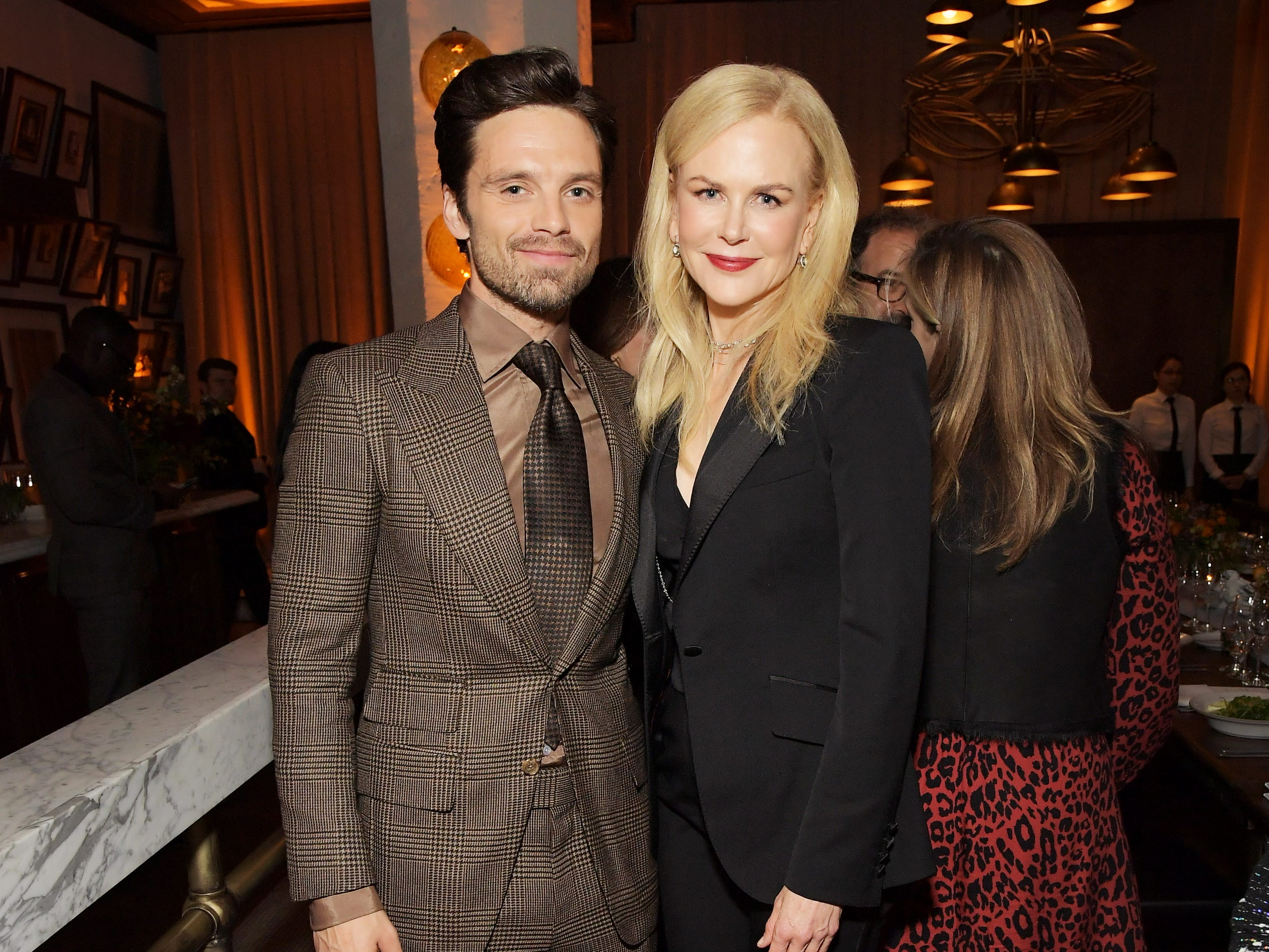 LOS ANGELES, CALIFORNIA - NOVEMBER 13: Sebastian Stan (L) and Nicole Kidman attend the Audi hosted private dinner for 'Destroyer' during AFI FEST 2018 at Public Kitchen & Bar at the Roosevelt on November 13, 2018 in Los Angeles, California. (Photo by Charley Gallay/Getty Images for Audi) ORG XMIT: 775258315 ORIG FILE ID: 1067284018