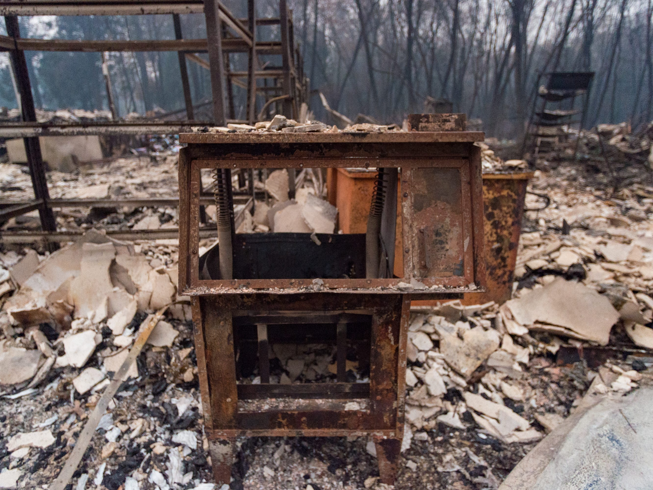 Destruction caused by the Camp Fire near Magalia, Calif., Tuesday, Nov. 13, 2018.