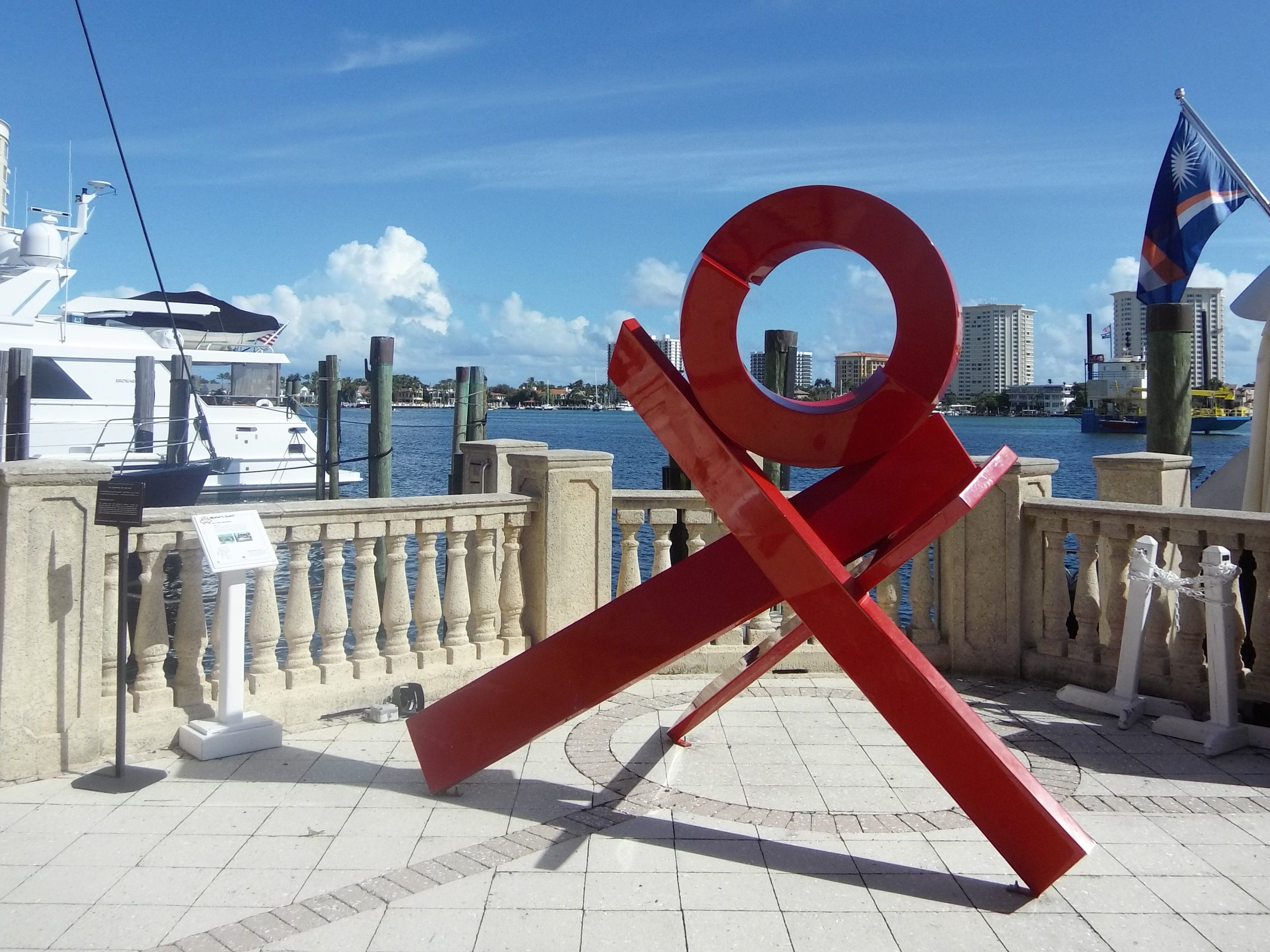 This sculpture, curated by Sponder Gallery, is found on the patio outside Palm Pavilion, overlooking Lake Boca Raton.