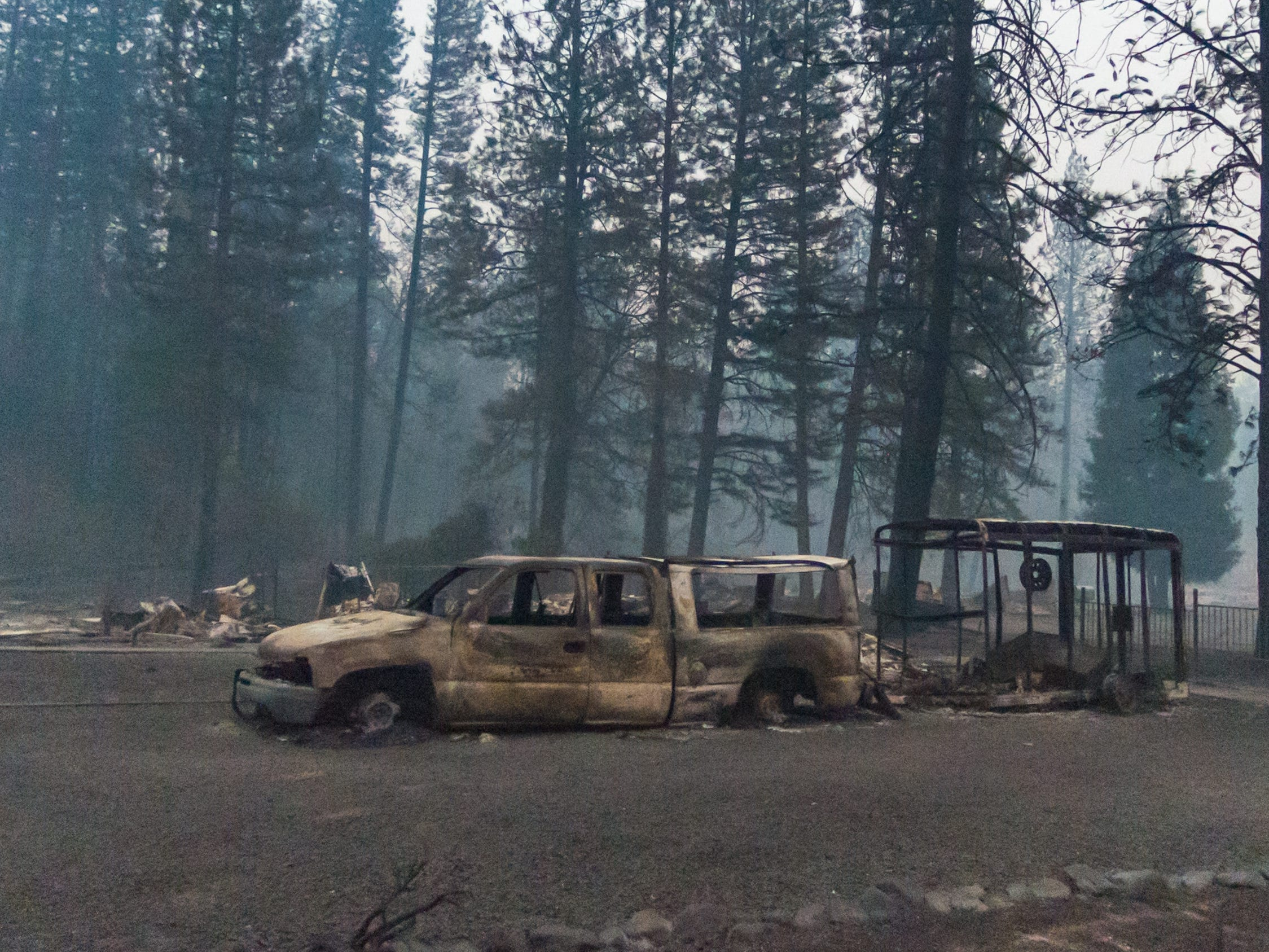 Destruction caused by The Camp Fire near Paradise, Calif., Tuesday, Nov. 13, 2018.