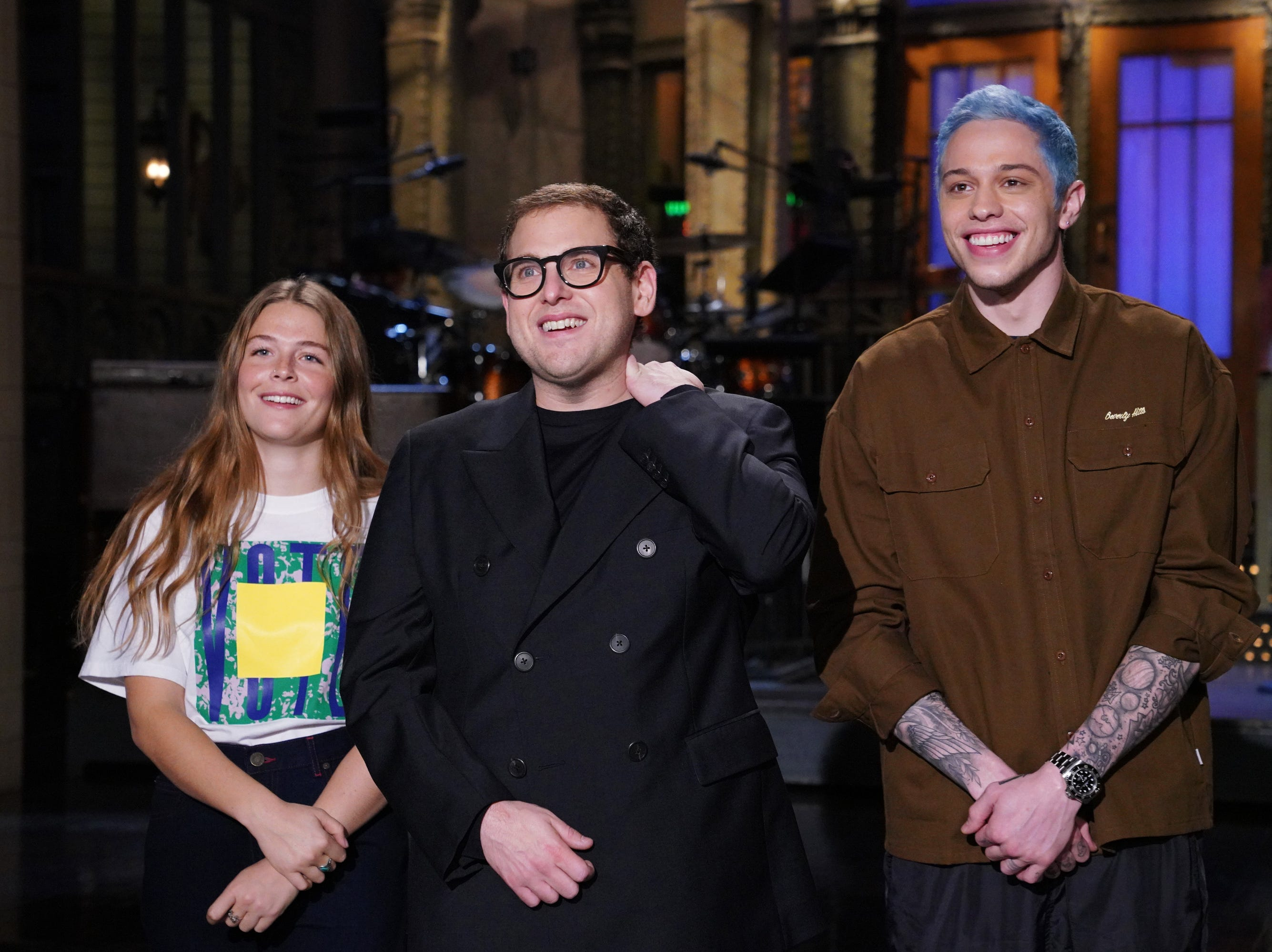 "SATURDAY NIGHT LIVE -- ""Jonah Hill"" Episode 1750 -- Pictured: (l-r) Musical Guest Maggie Rogers, Host Jonah Hill, and Pete Davidson during Promos on Saturday, November 3, 2018 -- (Photo by: Rosalind O'Connor/NBC)"
