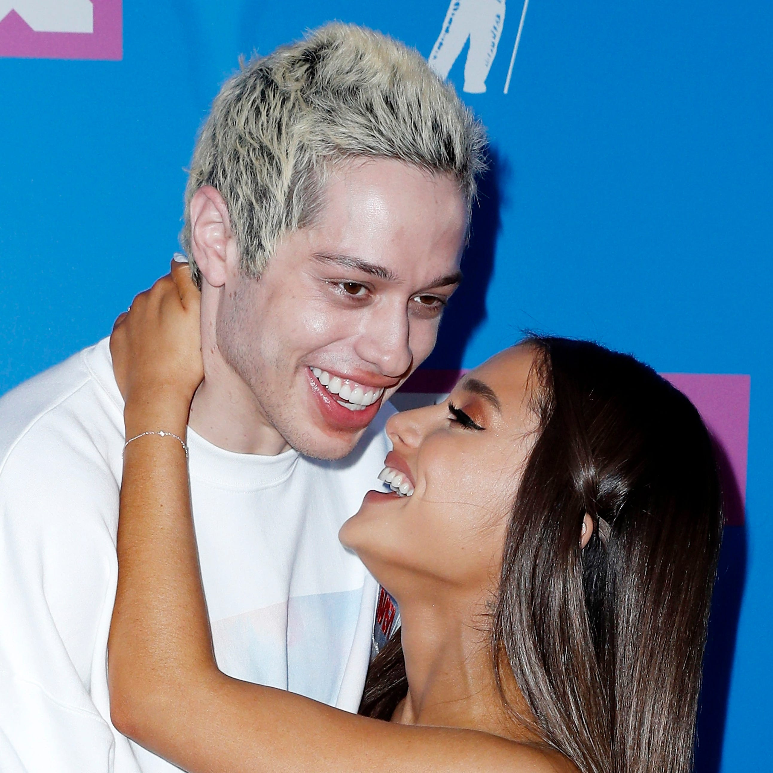 Pete Davidson with his former fiancée, Ariana Grande, at the 2018 MTV Video Music Awards in August.
