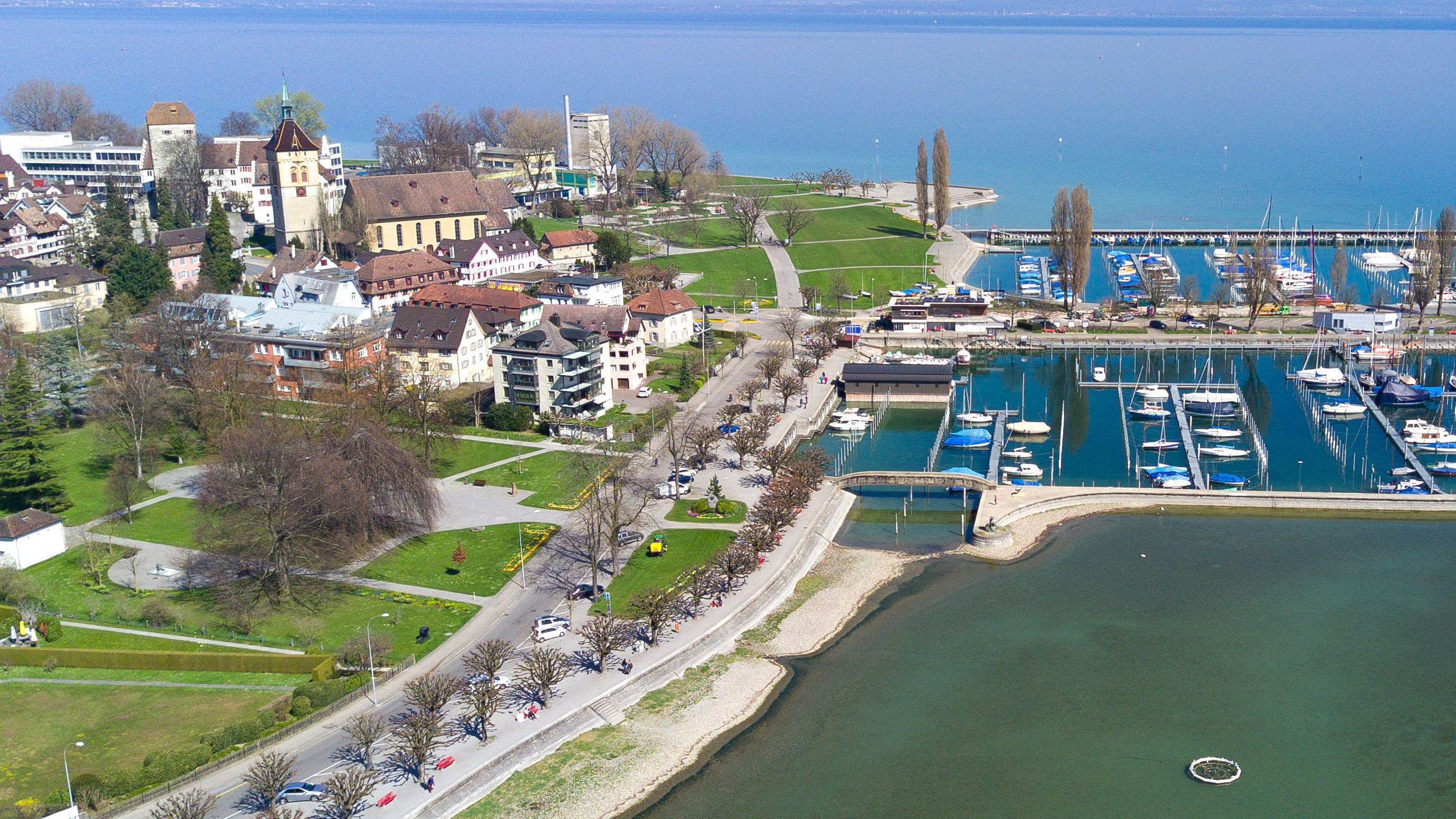 Aerial view of Arbon with harbor.