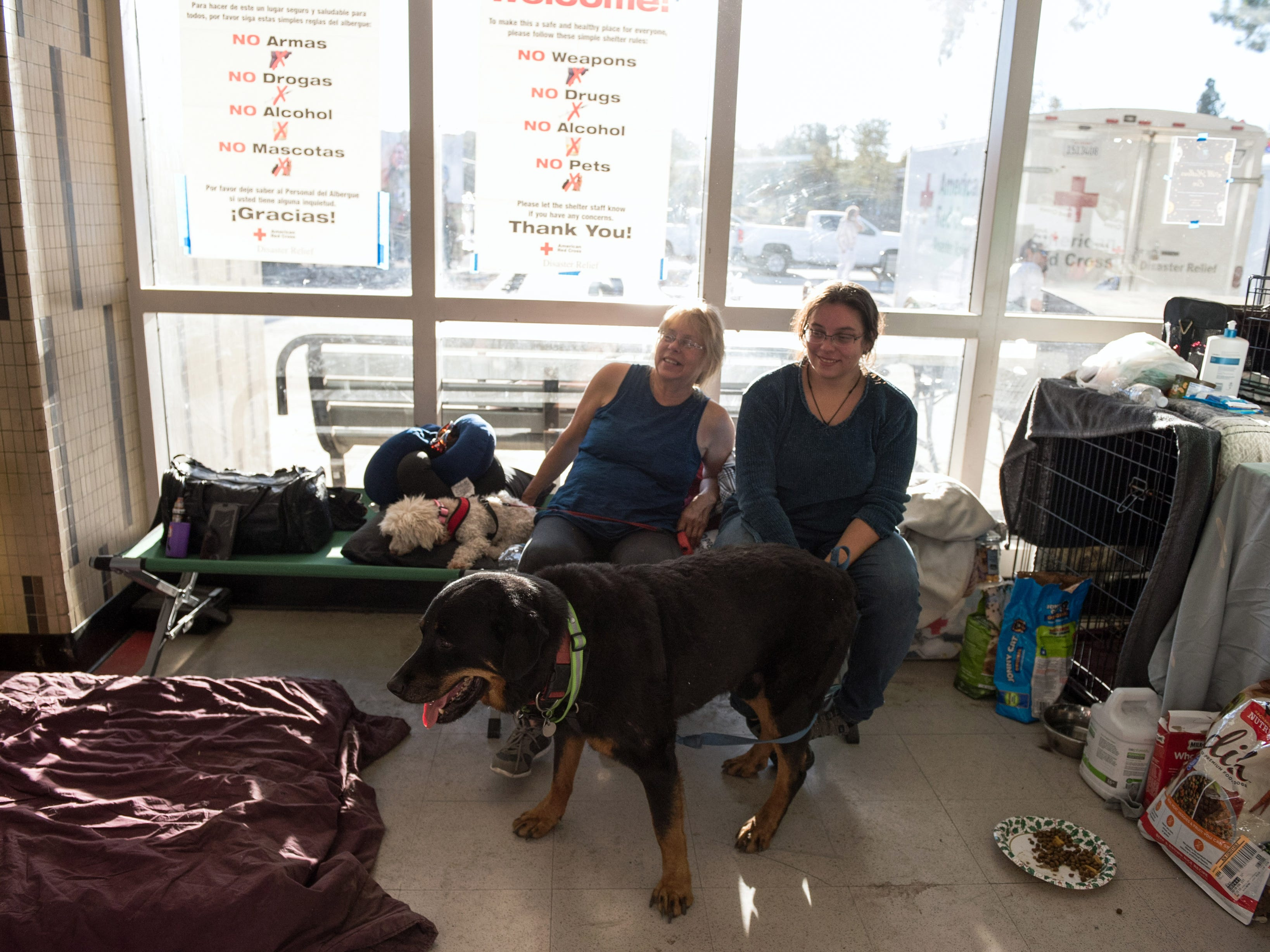 Belinda and Nikki Teague evacuated from their home due to the Woolsey Fire on Nov. 12, 2018. They brought their 3 dogs, 2 cats, and 2 turtles with them to the Red Cross shelter at Pierce College in Woodland Hills, Calif.