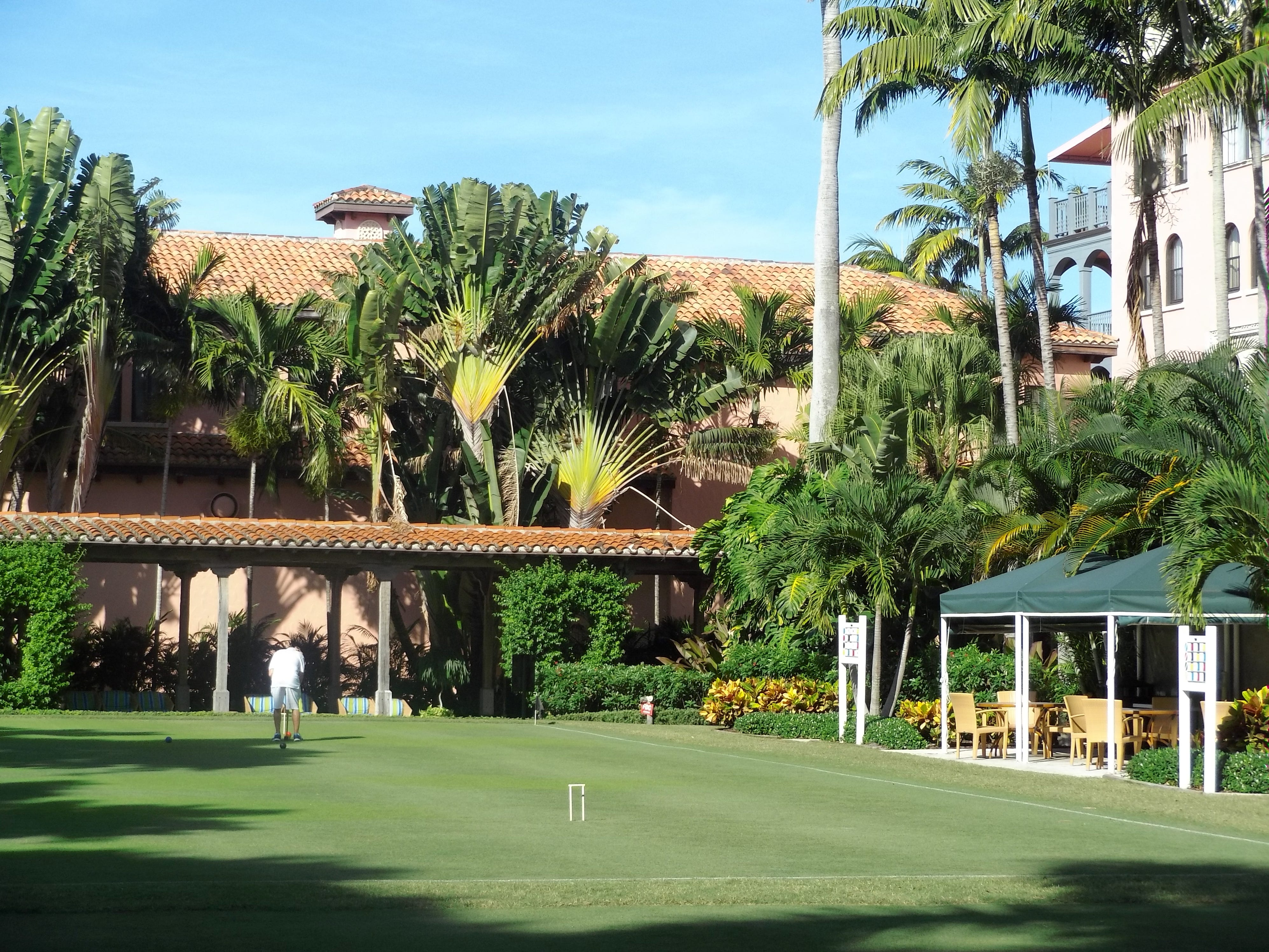 Playing croquet at Boca Raton Resort & Club.