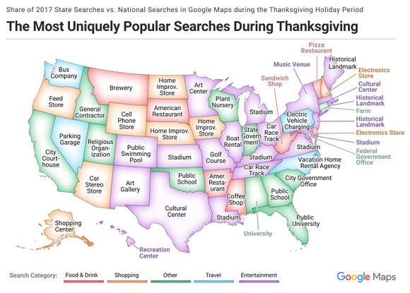 Where do you go on Thanksgiving according to Google Maps.