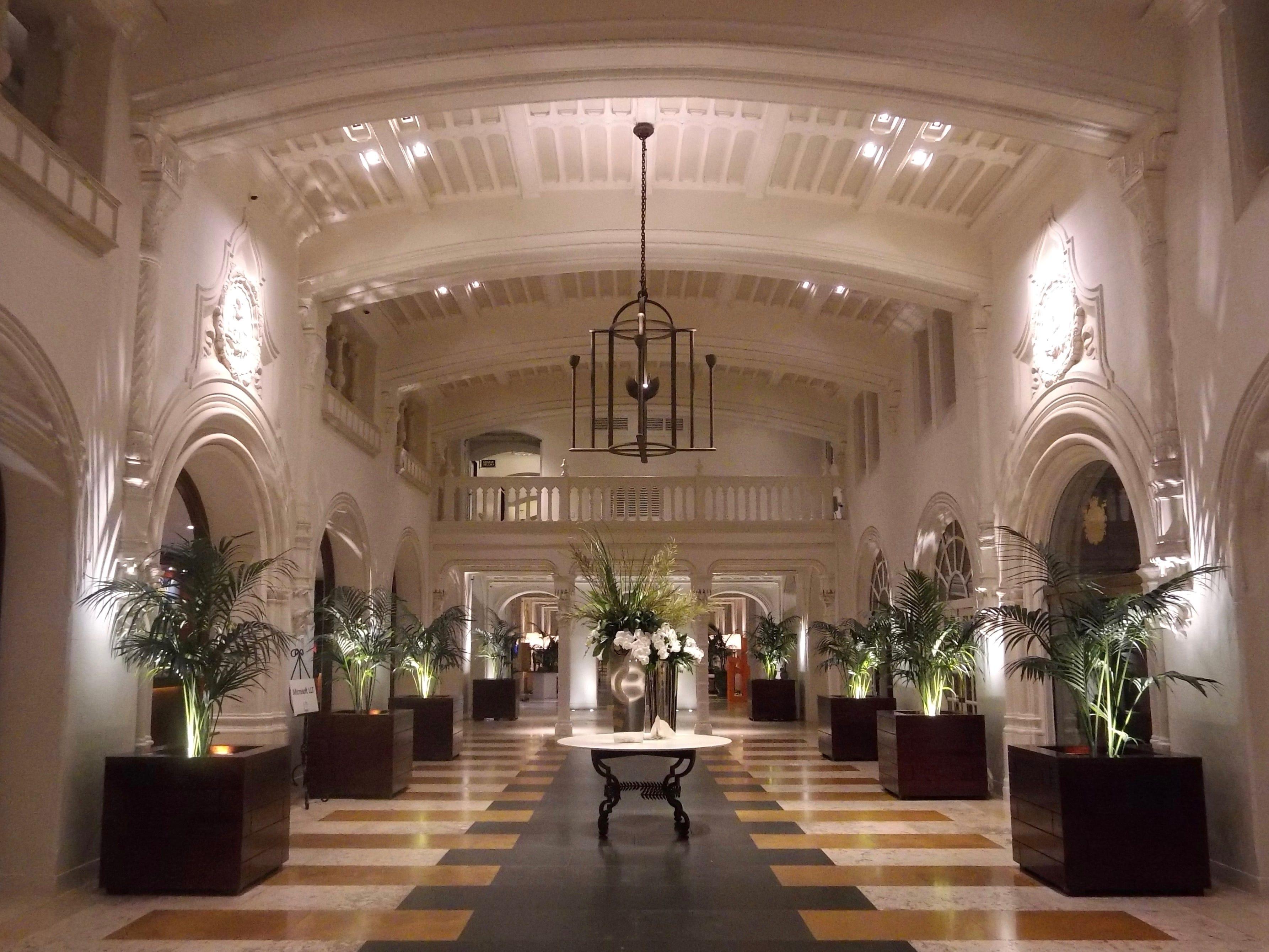 The elegant lobby of Boca Raton Resort & Club.