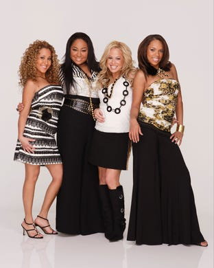 """From 2003 to 2008, the """"Cheetah Girls"""" franchise starred (L to R) Adrienne Bailon, Raven-Symone, Sabrina Bryan and Kiely Williams as a group of friends thrust into the spotlight when their dreams of stardom come true."""