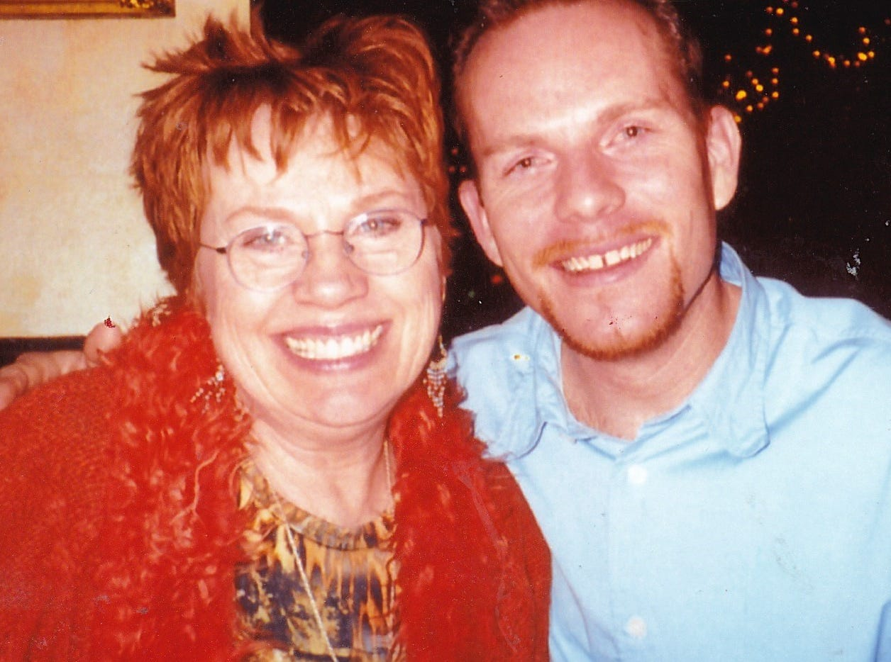 "Nancy Juracka is shown with her son, Lance, who died at 36 in 2006 only three years after he started drinking heavily. He even did a documentary on alcoholism - he had a strong family history of it - while attending New York University's Tisch School of the Arts and before he started drinking. He started drinking while he worked in Las Vegas, where he was reviewing shows and getting free drinks. By the time he moved back to Hermosa Beach, Calif. to start a painting business, his mother says his liver was gone and she was ""frantic."" He was okay but ""as the disease progressed, his liver was failing, he lost all his energy to work. He was one of the most energetic people you would ever meet in his days before this.  Old friends that hear this cannot believe this is true because Lance was nonstop."" She maxed out her credit cards so he could go to rehab and has since been helping a grandson who is in recovery from drug addiction.  ""I've learned a lot since Lance was an alcoholic,"" says Juracka"