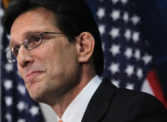 Former House Majority Leader Rep. Eric Cantor, R-Va., speaks during a news conference June 11, 2014, on Capitol Hill in Washington, D.C. Cantor lost a primary challenge from tea party candidate Dave Brat in 2014.
