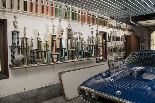 Some of Kevin Ward Jr.'s trophies from his career, which began with a go-kart race before he was 5.