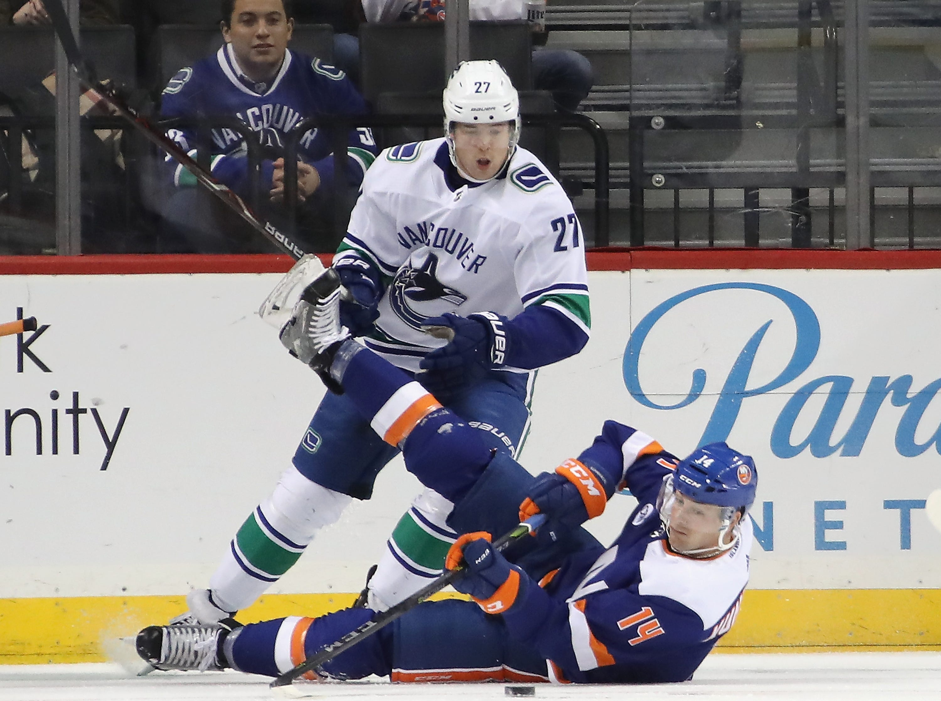 Nov. 13: Islanders forward Tom Kuhnhackl scores a no-look goal after he is being tripped by Canucks defenseman Ben Hutton,