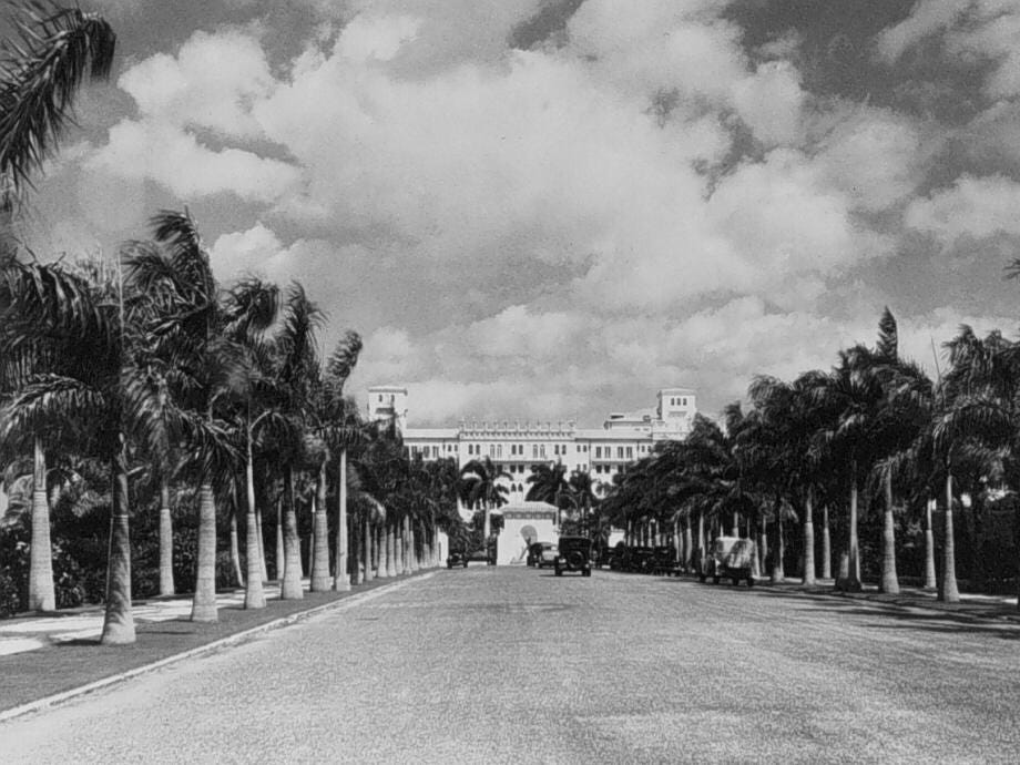 An historic photo of the entryway to the Cloister Inn, which changed its name to Boca Raton Resort & Club in the 1930s.