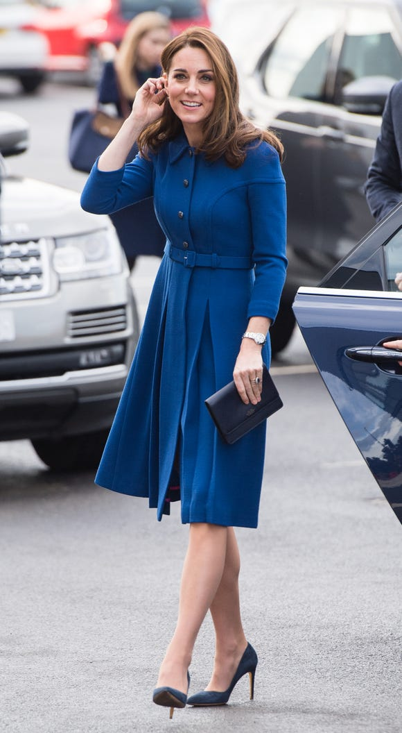 It's recycling day for Duchess Kate as she re-wears blue Eponine coat dress