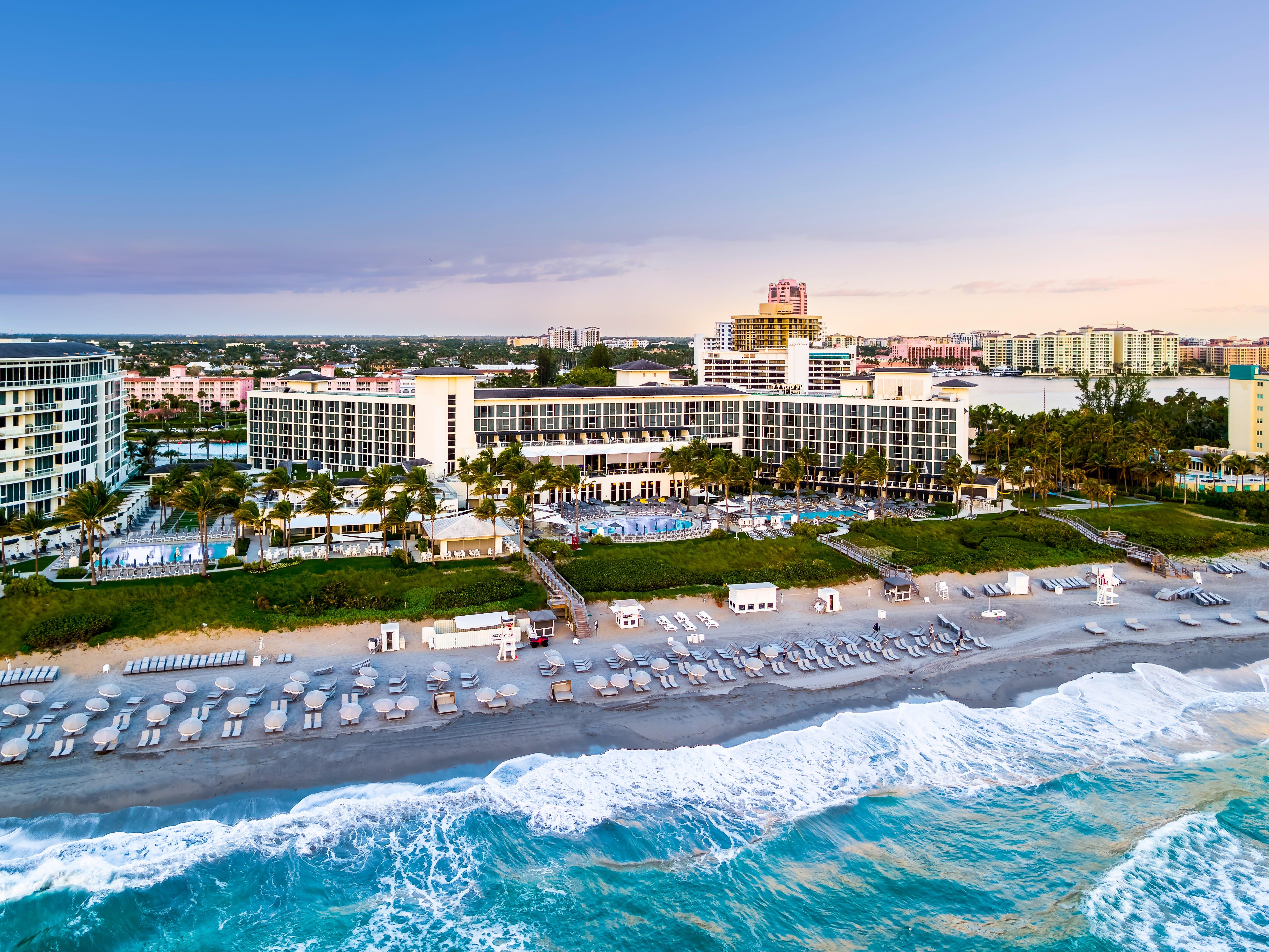 Boca Beach Club, a part of Boca Raton Resort & Club, sits on the Atlantic Ocean.