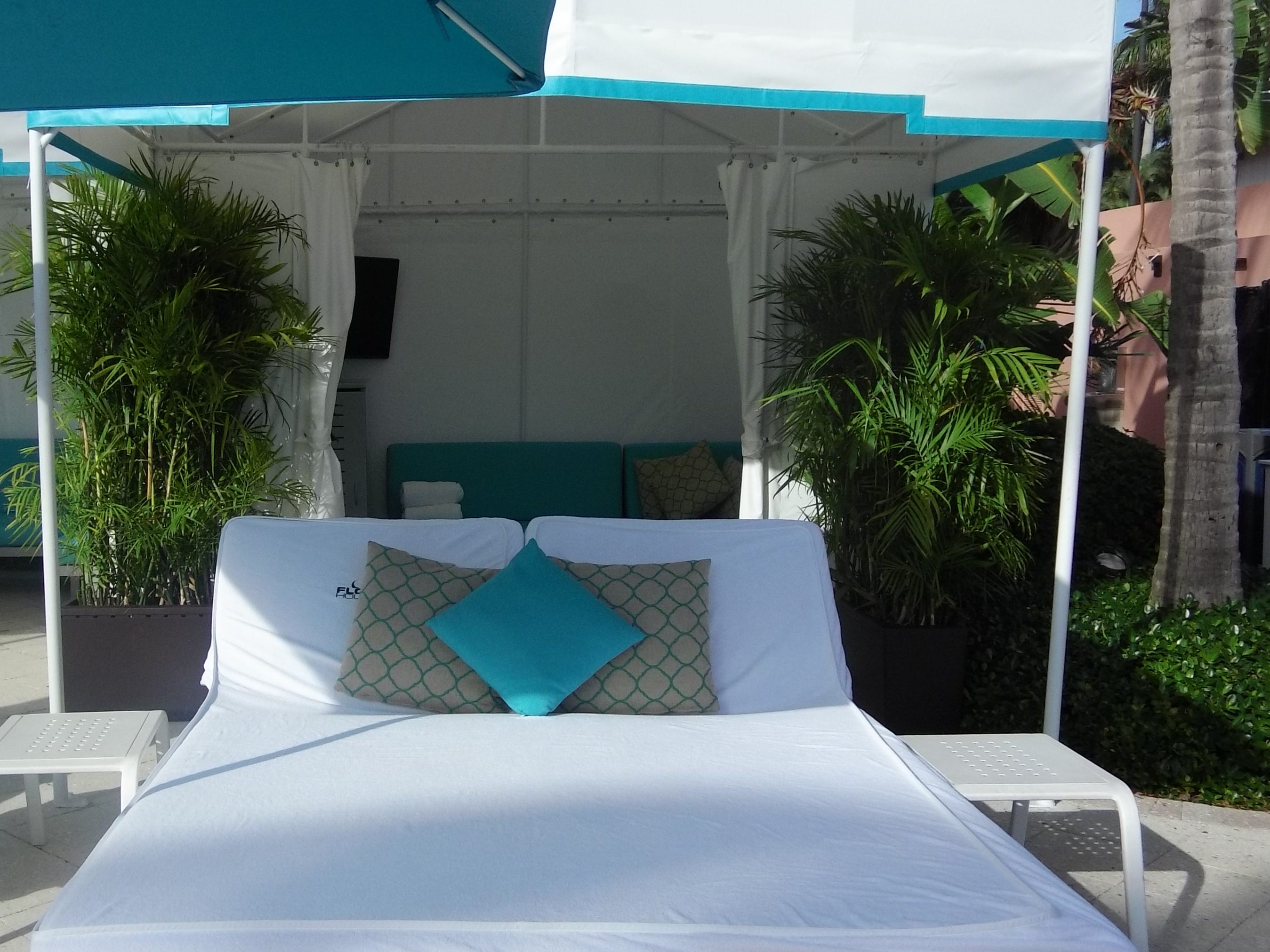 Poolside cabanas are available at The Tower pool.